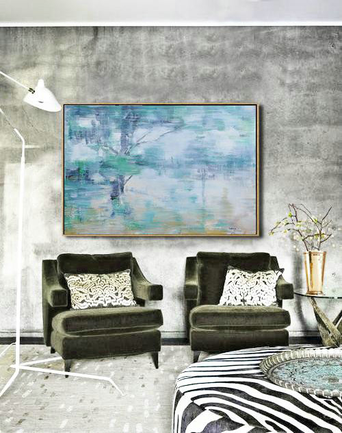 Abstract Painting Extra Large Canvas Art,Horizontal Abstract Landscape Oil Painting On Canvas,Canvas Wall Paintings Grey,Green,Yellow