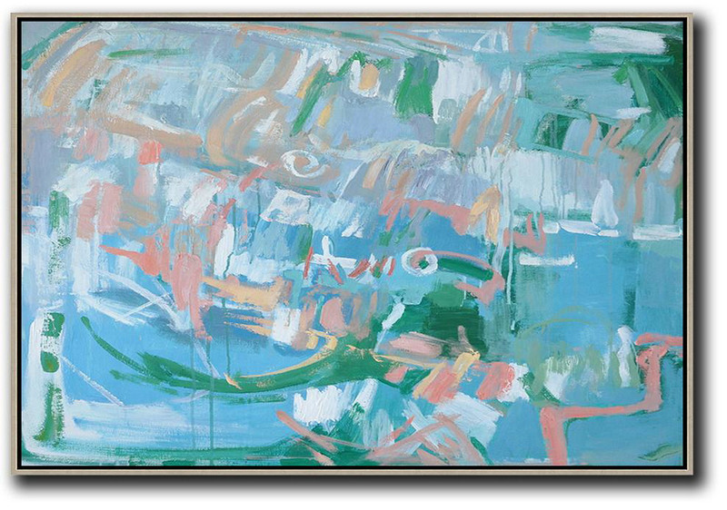 Oversized Canvas Art On Canvas,Hand Painted Horizontal Abstract Oil Painting On Canvas,Oversized Art Blue,Green,Pink