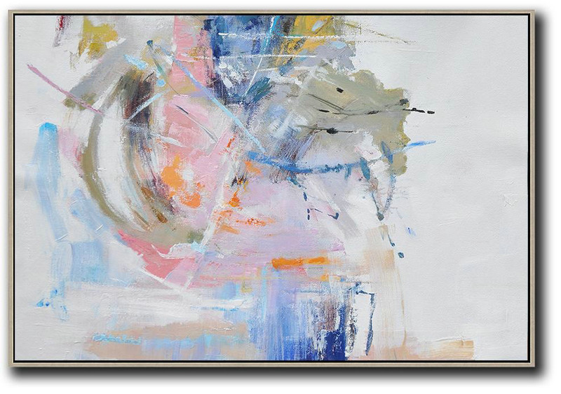 Large Abstract Painting,Hand Painted Horizontal Abstract Oil Painting On Canvas,Modern Art Abstract Painting White,Grey,Pink,Blue