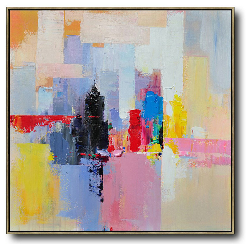 Oversized Canvas Art On Canvas,Oversized Palette Knife Painting Contemporary Art On Canvas,Pop Art Canvas White,Red,Black,Blue