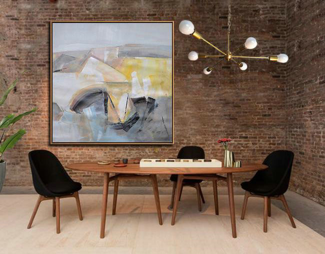 Extra Large Canvas Art,Oversized Palette Knife Painting Contemporary Art On Canvas,Size Extra Large Abstract Art Gray,Yellow,Blue