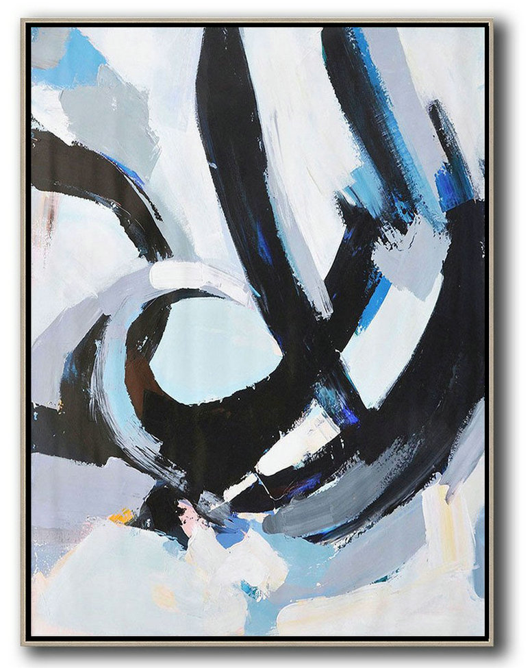 Original Abstract Painting Extra Large Canvas Art,Vertical Palette Knife Contemporary Art,Canvas Wall Art Home Decor White,Black,Blue