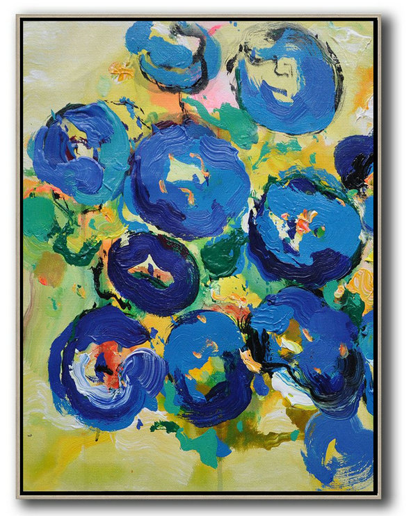 Extra Large Abstract Painting On Canvas,Vertical Palette Knife Contemporary Art,Abstract Painting On Canvas Yellow,Blue,Pink,Green