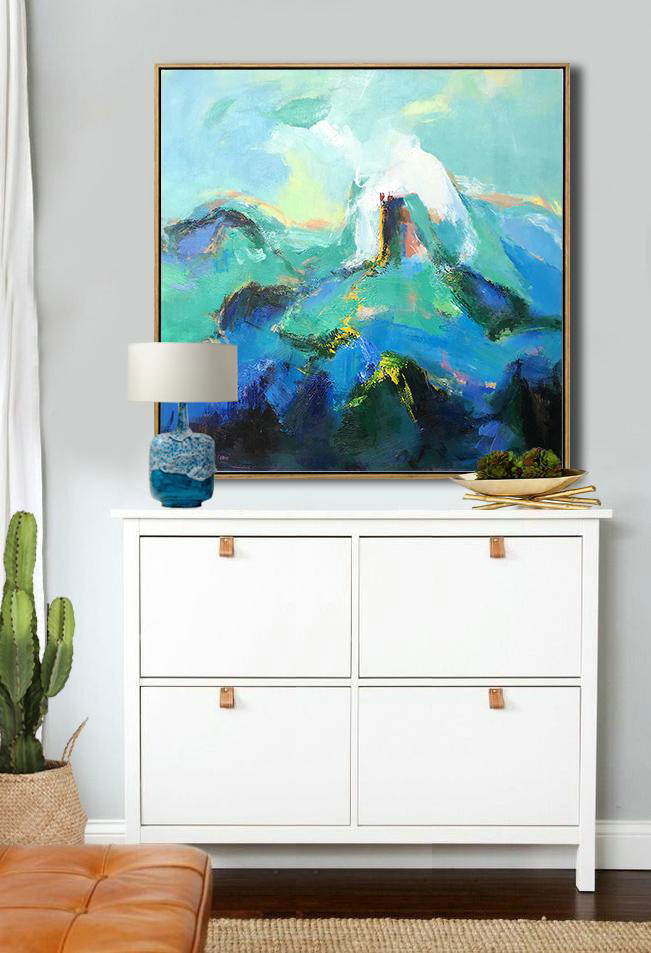 Extra Large Abstract Painting On Canvas,Oversized Palette Knife Painting Contemporary Art On Canvas,Acrylic Painting Wall Art Blue.Green,White