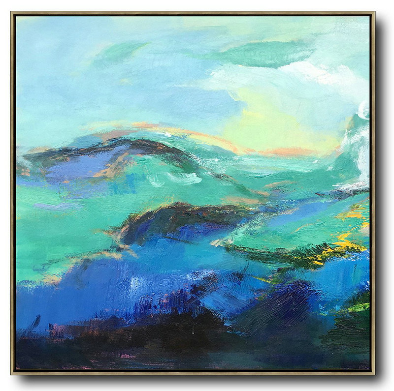 Original Extra Large Wall Art,Oversized Palette Knife Painting Abstract Landscape Art On Canvas,Hand Painted Acrylic Painting Blue,Green,Black