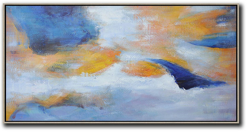 Extra Large Abstract Painting On Canvas,Horizontal Palette Knife Contemporary Art,Large Living Room Decor Blue,Yellow,White