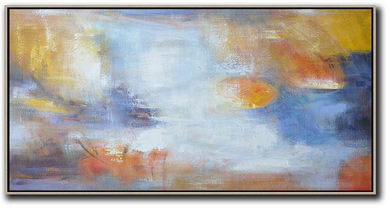 "Extra Large 72"" Acrylic Painting,Horizontal Palette Knife Contemporary Art,Contemporary Art Wall Decor Blue,White,Yellow"