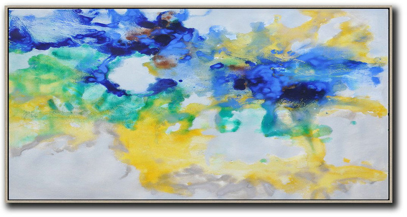 Original Abstract Painting Extra Large Canvas Art,Hand Painted Panoramic Abstract Oil Painting On Canvas,Canvas Paintings For Sale Grey,Yellow,Blue,Green