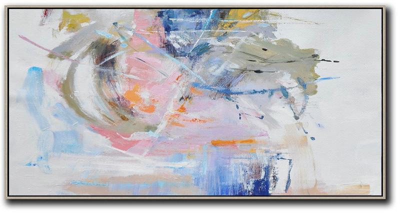 Extra Large Acrylic Painting On Canvas,Panoramic Abstract Art On Canvas,Modern Canvas Art Grey,White,Blue,Green
