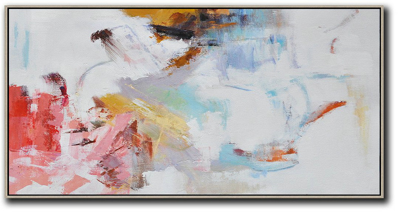 Extra Large Acrylic Painting On Canvas,Hand Painted Panoramic Abstract Art On Canvas,Extra Large Wall Art White,Grey,Pink,Red,Earthy Yellow