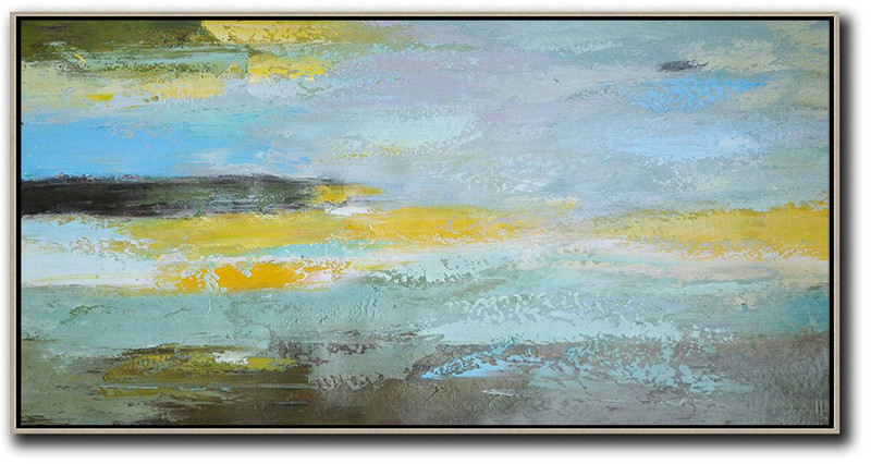 Extra Large Canvas Art,Horizontal Palette Knife Contemporary Art,Modern Art Abstract Painting Yellow,Grey,Purple