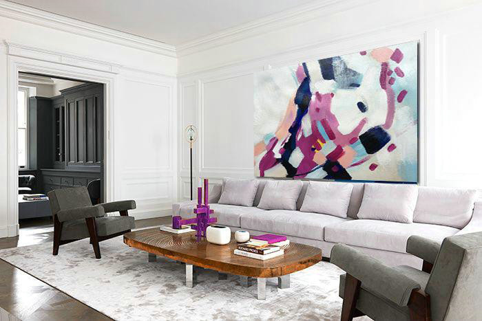 Abstract Painting Extra Large Canvas Art,Horizontal Palette Knife Contemporary Art,Acrylic Painting On Canvas White,Nude,Purple,Dark Blue