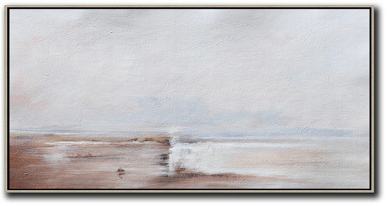 Large Contemporary Art Acrylic Painting,Hand Painted Panoramic Abstract Painting,Contemporary Canvas Paintings Beige,Grey,White