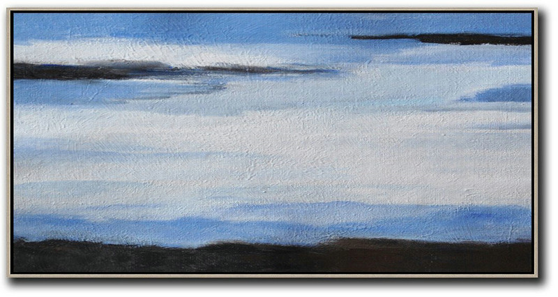 Extra Large Canvas Art,Hand Painted Panoramic Abstract Painting,Original Abstract Oil Paintings White,Blue,Black