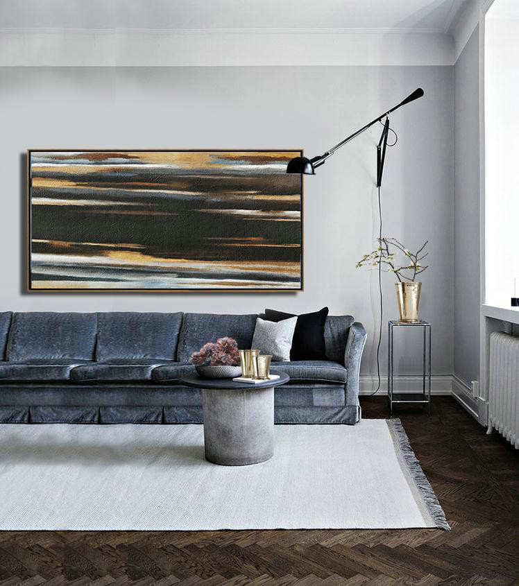 Abstract Painting Extra Large Canvas Art,Hand Painted Panoramic Abstract Painting,Original Abstract Art Paintings Earthy Yellow ,Black,White