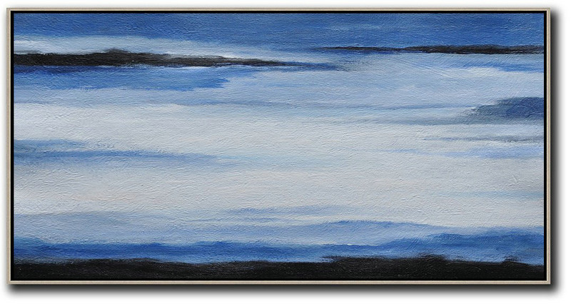 Handmade Large Contemporary Art,Hand Painted Panoramic Abstract Painting,Custom Oil Painting Blue,White,Black
