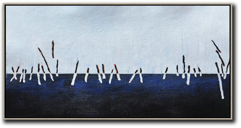 Handmade Large Painting,Hand Painted Panoramic Abstract Painting,Huge Abstract Canvas Art White,Grey,Dark Blue,Black