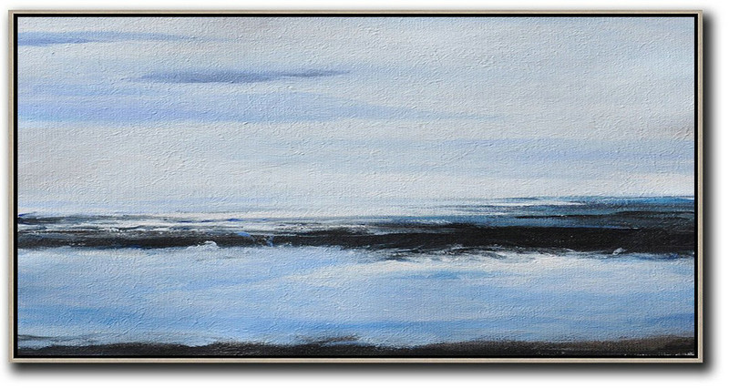 Original Artwork Extra Large Abstract Painting,Panoramic Abstract Landscape Painting On Canvas,Big Painting Grey,Blue,Black