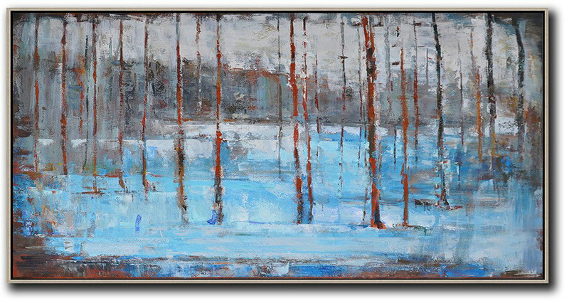Extra Large Textured Painting On Canvas,Panoramic Abstract Landscape Painting,Extra Large Canvas Art,Handmade Acrylic Painting Grey,Light Blue,Red