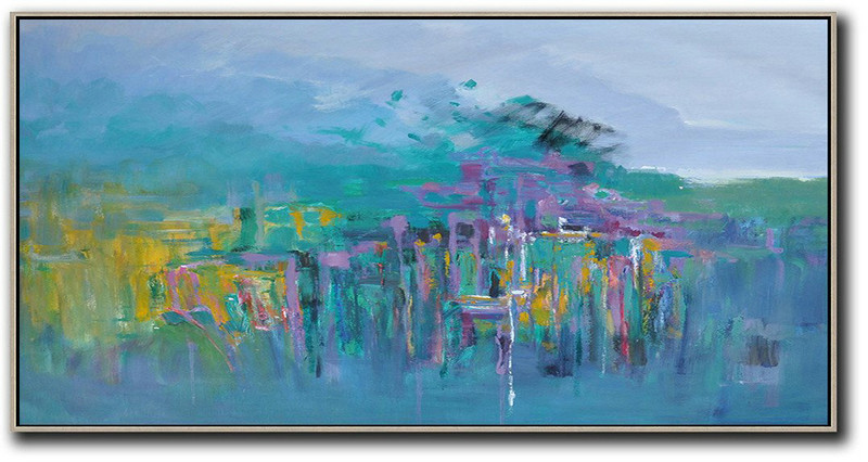 Handmade Painting Large Abstract Art,Panoramic Abstract Landscape Painting,Original Art Acrylic Painting Blue,Yellow,Purple,Green