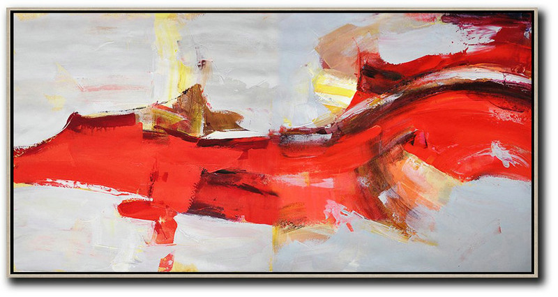 Large Abstract Art,Horizontal Palette Knife Contemporary Art Panoramic Canvas Painting,Extra Large Wall Art Red,Grey,Yellow