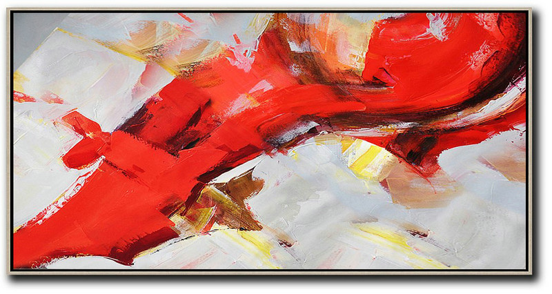 Abstract Painting Extra Large Canvas Art,Horizontal Palette Knife Contemporary Art Panoramic Canvas Painting,Hand Painted Aclylic Painting On Canvas Red,White,Yellow