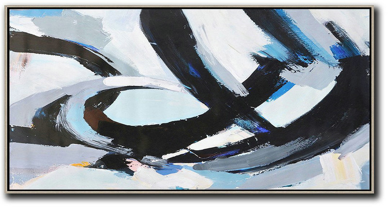 Large Contemporary Art Acrylic Painting,Horizontal Palette Knife Contemporary Art Panoramic Canvas Painting,Large Abstract Art Handmade Acrylic Painting Black,White,Grey,Blue
