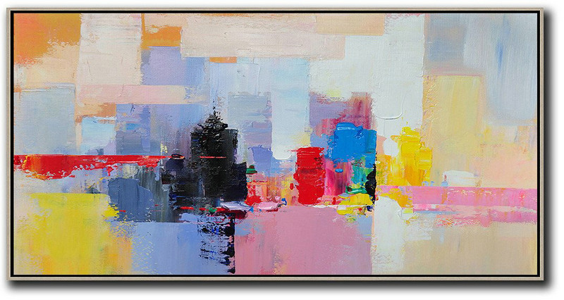 Large Abstract Art,Horizontal Palette Knife Contemporary Art Panoramic Canvas Painting,Original Art Acrylic Painting Black,Pink,Yellow,Red,Blue