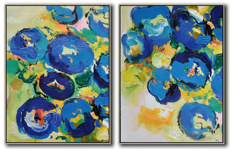 Handmade Painting Large Abstract Art,Set Of 2 Abstract Flower Painting On Canvas,Lounge Wall Decor Yellow,Blue,Green
