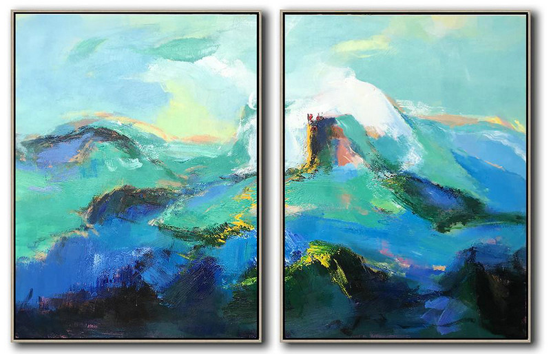 Handmade Large Contemporary Art,Set Of 2 Abstract Landscape Painting On Canvas,Hand-Painted Contemporary Art Green,Blue,Black