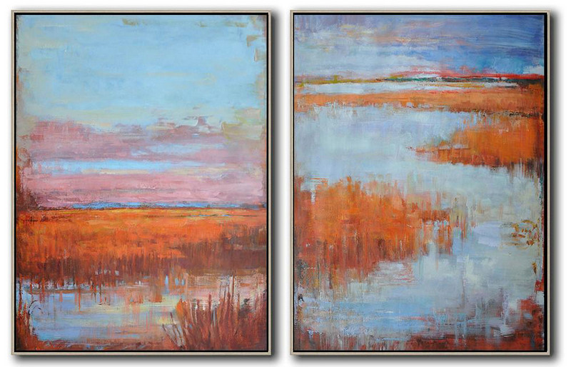 Huge Abstract Painting On Canvas,Set Of 2 Abstract Landscape Painting On Canvas,Artwork For Sale Blue,Pink,Red