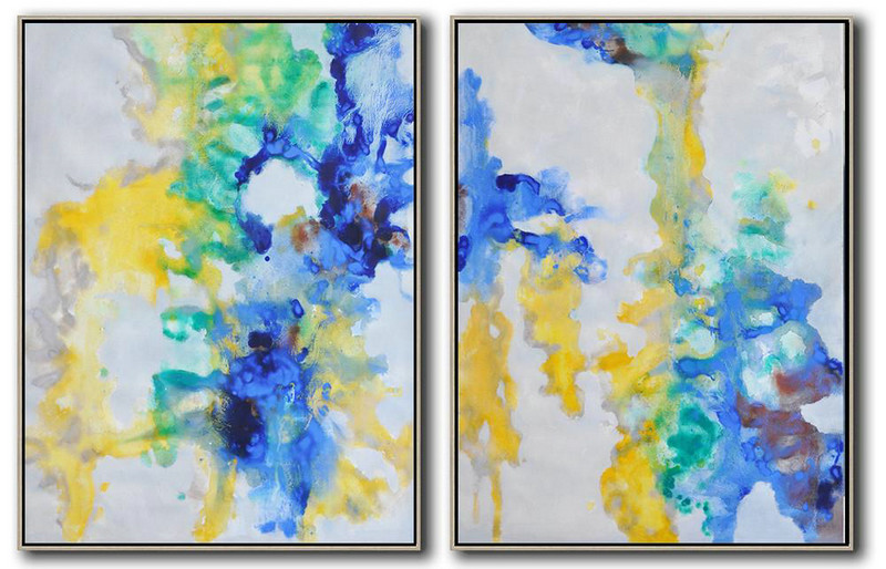 Handmade Extra Large Contemporary Painting,Set Of 2 Abstract Oil Painting On Canvas,Oversized Wall Decor Grey,Yellow,Blue,Green