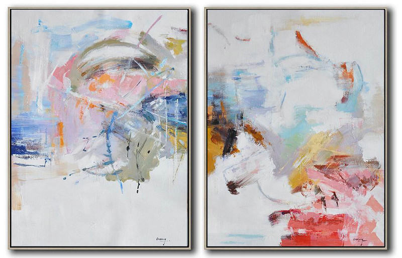 Handmade Large Contemporary Art,Set Of 2 Abstract Oil Painting On Canvas,Acrylic Painting Wall Art White,Pink,Blue,Gray