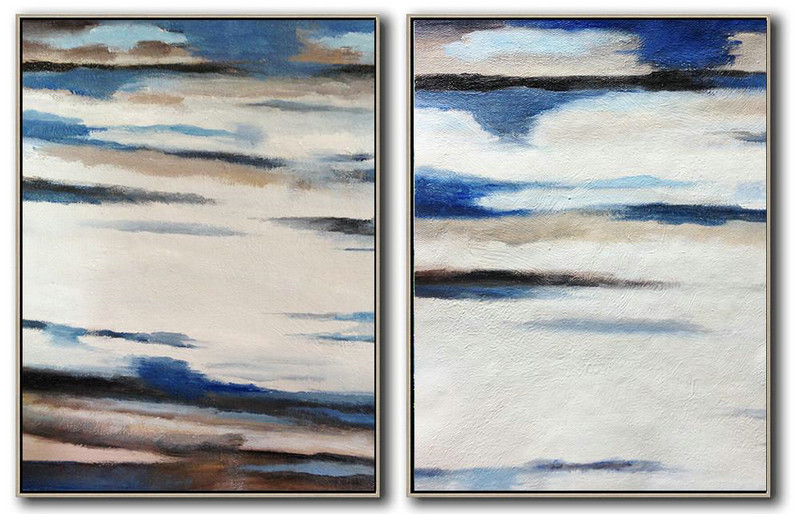 Extra Large Acrylic Painting On Canvas,Set Of 2 Abstract Painting On Canvas,Modern Paintings White,Blue,Brown