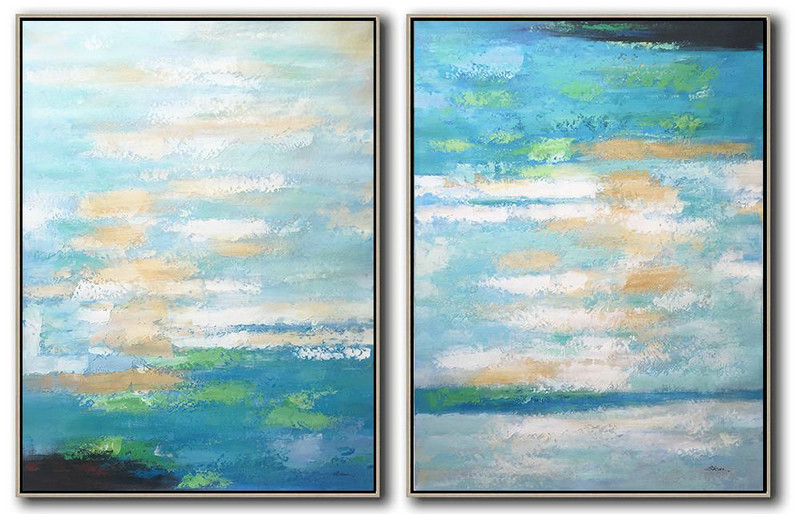 Handmade Painting Large Abstract Art,Set Of 2 Abstract Painting On Canvas,Modern Art Abstract Painting Blue,Yellow,Green