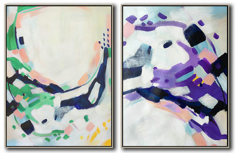 Large Abstract Painting On Canvas,Set Of 2 Abstract Painting On Canvas,Canvas Wall Art White.Dark Blue,Green,Purple