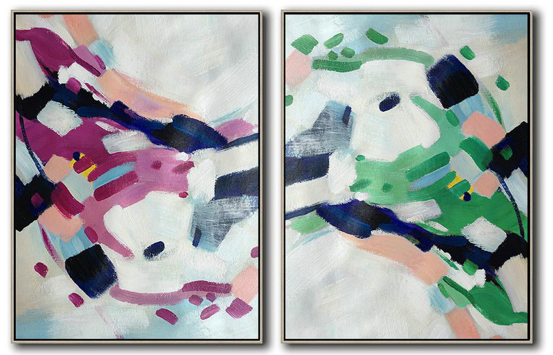 Extra Large Painting,Set Of 2 Abstract Painting On Canvas,Art Work White,Pink,Purple,Green,Dark Blue
