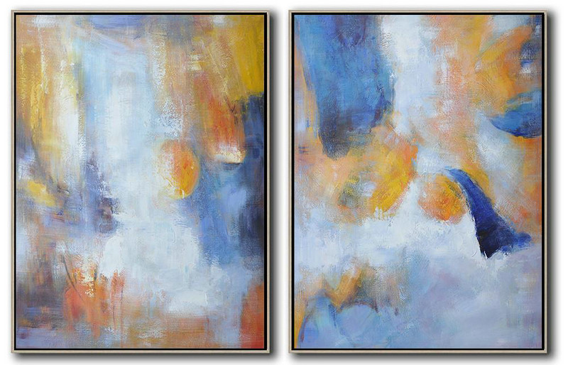 Handmade Large Contemporary Art,Set Of 2 Abstract Painting On Canvas,Contemporary Art Acrylic Painting Yellow,Blue,White
