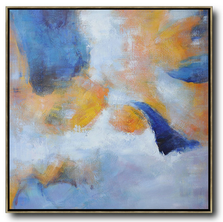 "Extra Large 72"" Acrylic Painting,Oversized Square Abstract Art,Unique Canvas Art White,Blue,Yellow"