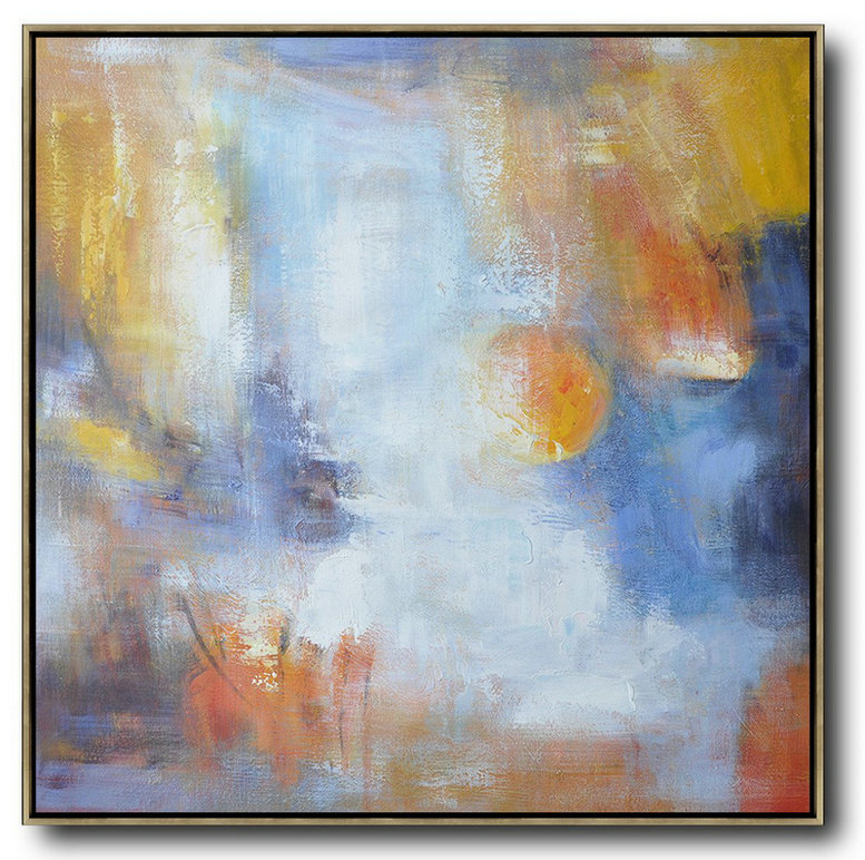 Extra Large Textured Painting On Canvas,Oversized Square Abstract Art,Wall Art Ideas For Living Room Red,White,Yellow,Blue