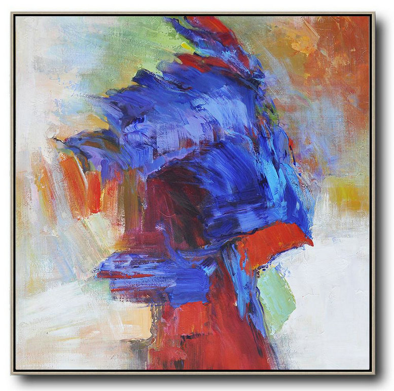 Abstract Painting Extra Large Canvas Art,Oversized Square Abstract Art,Abstract Art Decor Large Canvas Painting Blue,Red,Orange