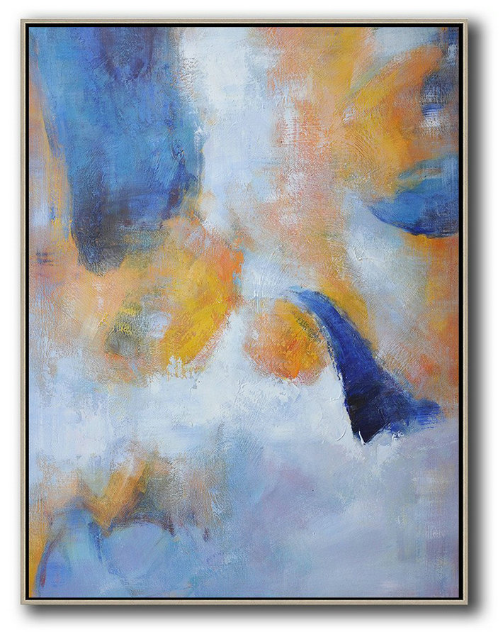 Extra Large Acrylic Painting On Canvas,Hand Painted Vertical Abstract Art,Abstract Painting Modern Art Yellow,White,Blue