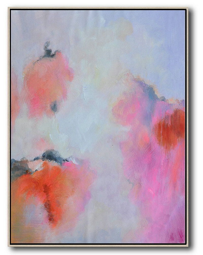 Original Artwork Extra Large Abstract Painting,Hand Painted Vertical Square Abstract Art,Extra Large Canvas Painting Blue,Pink,Red