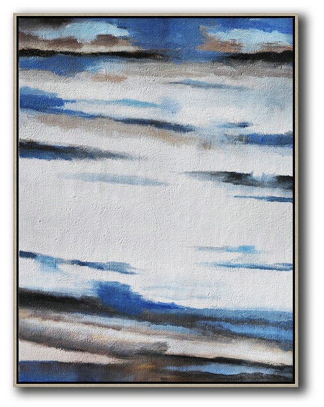 Extra Large Canvas Art,Oversized Abstract Landscape Painting,Original Art Acrylic Painting Blue,White,Grey,Brown