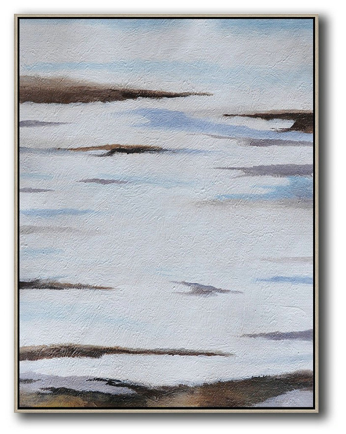 Handmade Large Painting,Oversized Abstract Landscape Painting,Big Canvas Painting Blue,White,Brown,Grey