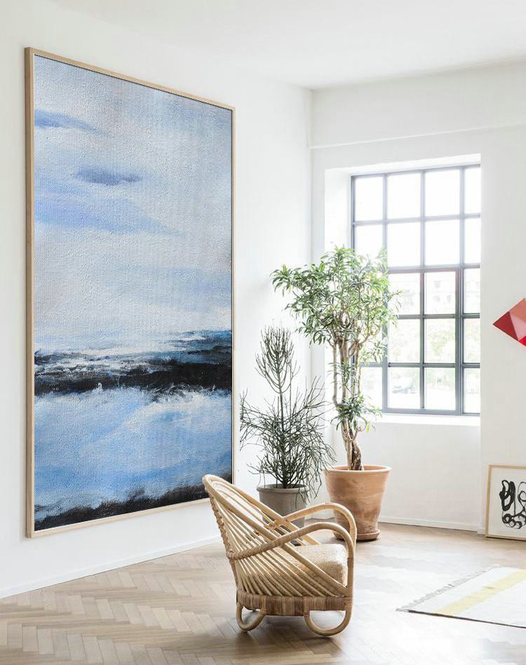 Extra Large Textured Painting On Canvas,Oversized Abstract Landscape Painting,Extra Large Artwork Grey,Blue,White,Black