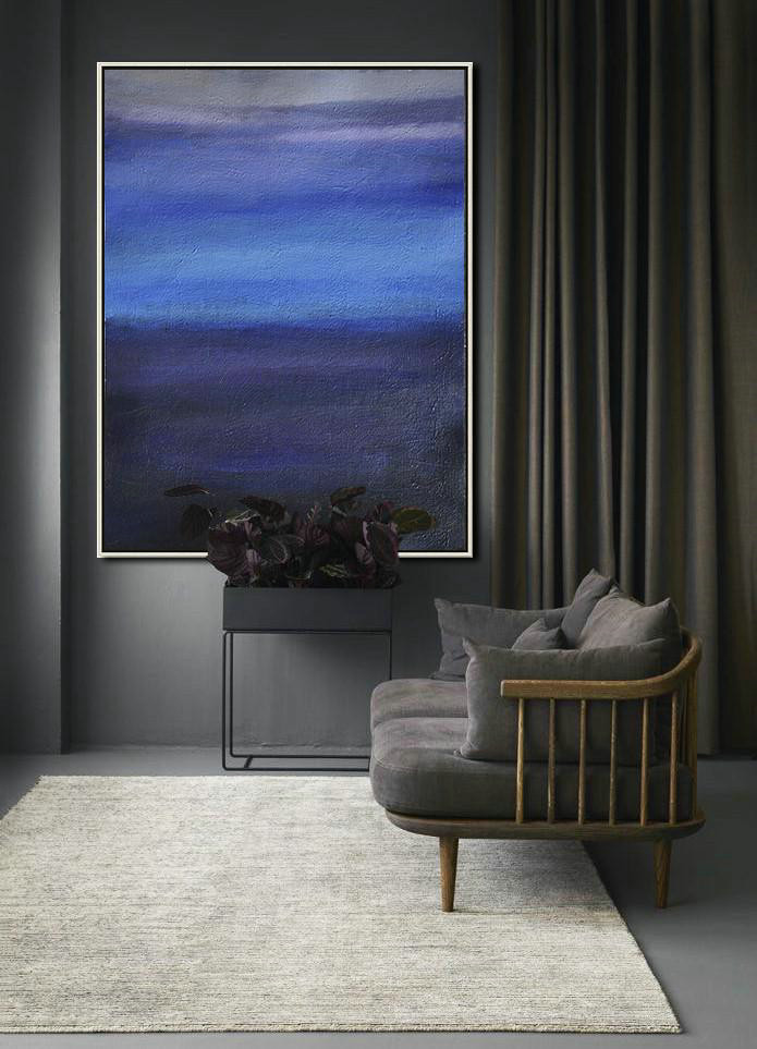 Extra Large Abstract Painting On Canvas,Oversized Abstract Landscape Painting,Wall Art Painting Blue,Dark Blue,Grey