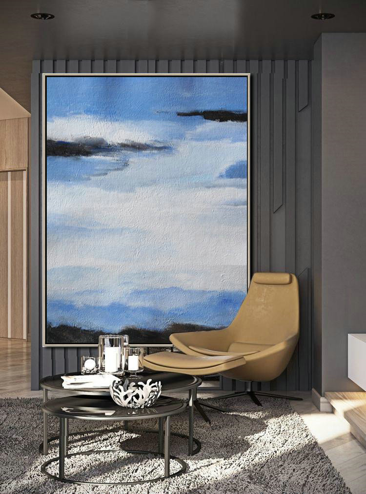 Abstract Painting Extra Large Canvas Art,Oversized Abstract Landscape Painting,Large Canvas Art,Modern Art Abstract Painting Blue,White,Black