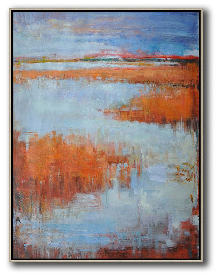 Large Abstract Painting,Oversized Abstract Landscape Painting,Huge Canvas Art On Canvas Blue,Orange,Grey