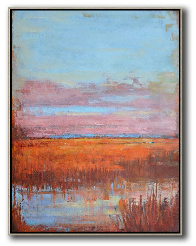 Large Abstract Art,Oversized Abstract Landscape Painting,Large Paintings For Living Room Blue,Pink,Orange,Red